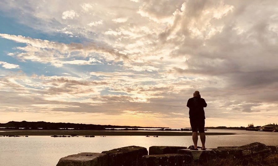 Capturing a sunset at the mouth of the Whanganui River